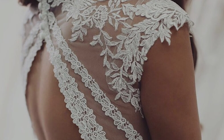 Bridal dress in detail